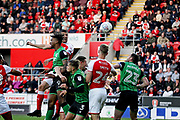 Rotherham United defender Richard Wood (6) beats Scunthorpe United's Ivan Toney (9) to the header to put Rotherham 1-0 up during the EFL Sky Bet League 1 play off second leg match between Rotherham United and Scunthorpe United at the AESSEAL New York Stadium, Rotherham, England on 16 May 2018. Picture by Nigel Cole.