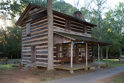Log cabin built by Andrew Logan around 1787 presently located on the ground of Ninety Siix National Historic Site, near Ninety-Six, SC.