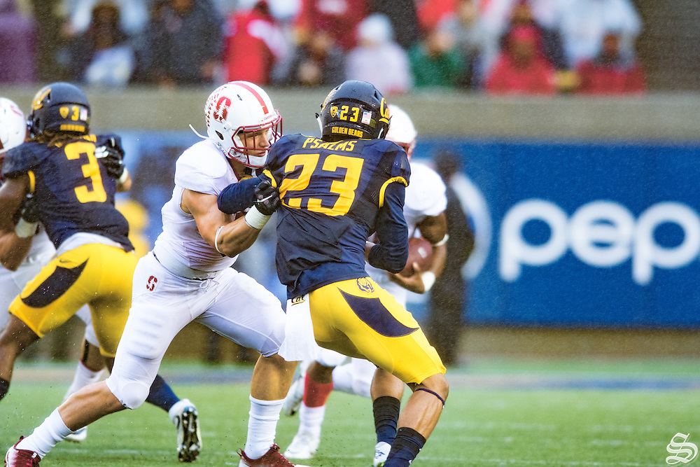 Christian McCaffrey #5 covering ball carrier Bryce Love #20. Photo by Rahim Ullah Photo by Syler Peralta-Ramos<br /> printed 10/18/17
