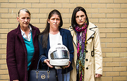 Pictured: Bradley William's grandmother Annette Lothian, and aunts Louise Lothiand and Rowenna MacMillan<br /> <br /> Police Scotland visited Craigroyston High Schoolto today to host motorcycle safety seminar at the secondary school. The event looked at motorbike/vehicle misuse and the consequences involved after 50 students from the school were identified as potentially being involved in such activities. One of the school's 14 year old pupils, Bradley Williams died recently in a motorcycle accident recently and some of his relatives were their to plead with the students to be aware of the dangers of going on bikes with out the appropriate training and licences.<br /> Ger Harley | EEm 27 April 2017
