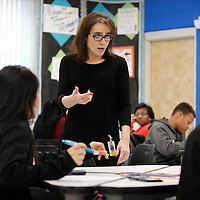 Thomas Wells   BUY AT PHOTOS.DJOURNAL.COM<br /> Tupelo Middle School teacher Jennifer Towery goes over a study guide with her math students on their first day back in school for 2017.