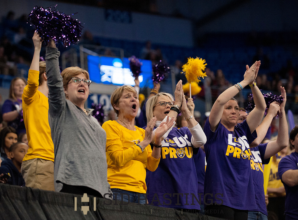 20 APRIL 2018 -- ST. LOUIS -- LSU gymnastics fans cheer the Tigers during the 2018 NCAA Women's Gymnastics Championship Semifinals in St. Louis Friday, April 20, 2018. LSU finished second in the semifinal, joining UCLA and Nebraska in advancing from the first semifinal into the Super Six championship round on Saturday.<br /> <br /> Photo &copy; copyright 2018 Sid Hastings.