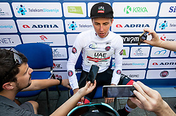 Best young rider Tadej Pogacar (SLO) of UAE Team Emirates with journalists after the 2nd Stage of 26th Tour of Slovenia 2019 cycling race between Maribor and Celje (146,3 km), on June 20, 2019 in  Slovenia. Photo by Vid Ponikvar / Sportida
