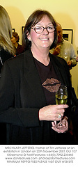 MRS HILARY JEFFERIES mother of Tim Jefferies at an exhibition in London on 20th November 2001.OUI 107