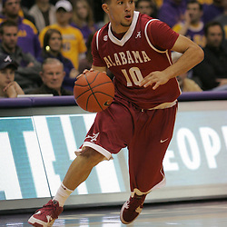 Jan 09, 2010; Baton Rouge, LA, USA; Alabama Crimson Tide guard Ben Eblen (10) drives with the ball against the LSU Tigers during the second half at the Pete Maravich Assembly Center. Alabama defeated LSU 66-49.  Mandatory Credit: Derick E. Hingle-US PRESSWIRE