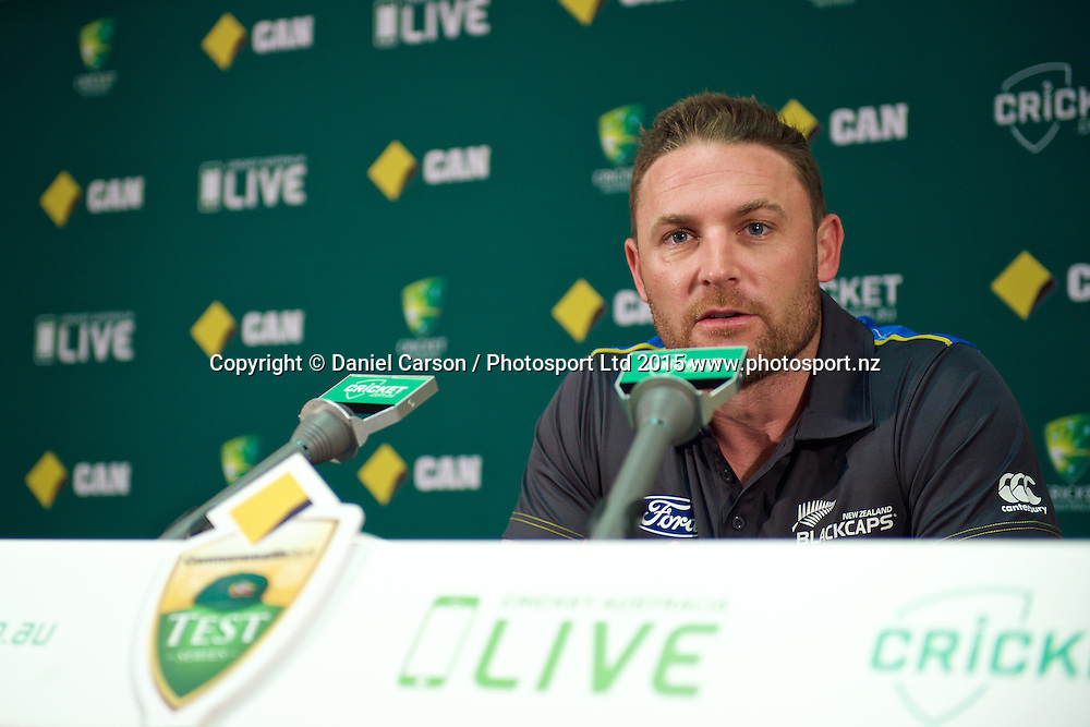 Brendon McCullum (*c) of the New Zealand Black Caps speaks to the press during the press conference and training session on the 12th of November 2015. The New Zealand Black Caps tour of Australia, 2nd test at the WACA ground in Perth, 13 - 17th of November 2015.   Photo: Daniel Carson / www.photosport.nz