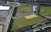 aerial photograph of Cardiff Athletics Stadium Wales  UK
