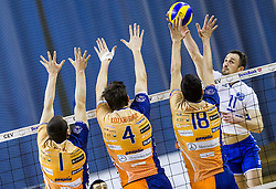 Andrej Flajs, Jan Kozamernik and Apostolos Armenakis of ACH vs Dejan Cabarkapa of Salonit Anhovo during volleyball match between ACH Volley and OK Salonit Anhovo in Blue Grup of Slovenian National Championship 2016/17, on February 18, 2017 in Tivoli hall, Ljubljana, Slovenia. Photo by Vid Ponikvar / Sportida