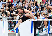 Sergey Shubenkov (RUS) wins the 110m hurdles in 12.95 uring the 2018 Athletissima in an IAAF Diamond League meeting at Stade Olympique de la Pontaise in Lausanne, Switzerland on Thursday, July 5, 2018. (Jiro Mochizuki/Image of Sport)
