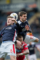 Falkirk's Blair Alston and Luke Leahy over Brechin City&rsquo;s Andy Jackson. <br /> Falkirk 2 v 1 Brechin City, Scottish Cup fifth round game played today at The Falkirk Stadium.