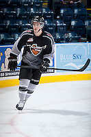KELOWNA, CANADA - JANUARY 4: Cain Franson LW #12 of the Vancouver Giants warms up against the Kelowna Rockets on January 4, 2014 at Prospera Place in Kelowna, British Columbia, Canada.   (Photo by Marissa Baecker/Shoot the Breeze)  ***  Local Caption  ***
