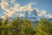 The sky clears out above Mount Fitzroy. View from the Los Glaciares Park office in El Chalten.