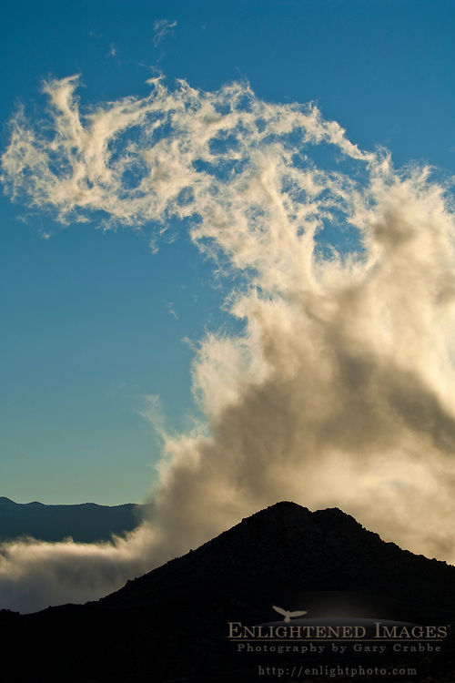 Cloud rising out of the Owens Valley at sunrise, Eastern Sierra, California