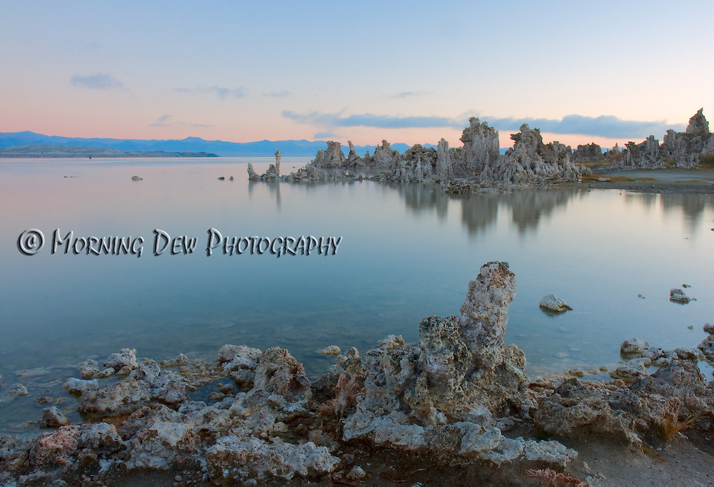 Sunrise tints the sky pink behind the unusual tufa formations of California's Mono Lake