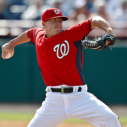 March 4, 2011; Viera, FL, USA; Washington Nationals relief pitcher Drew Storen (22) during a spring training exhibition game against the Atlanta Braves at Space Coast Stadium.  Mandatory Credit: Derick E. Hingle