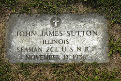 31 August 2017:   Veterans graves in Park Hill Cemetery in eastern McLean County.<br /> <br /> John James Sutton Illinois  Seaman 2CL USNRF  November 17 1936