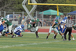12 October 2013:  Devonte Jones finds a huge hole in the middle during an NCAA division 3 football game between the North Park vikings and the Illinois Wesleyan Titans in Tucci Stadium on Wilder Field, Bloomington IL