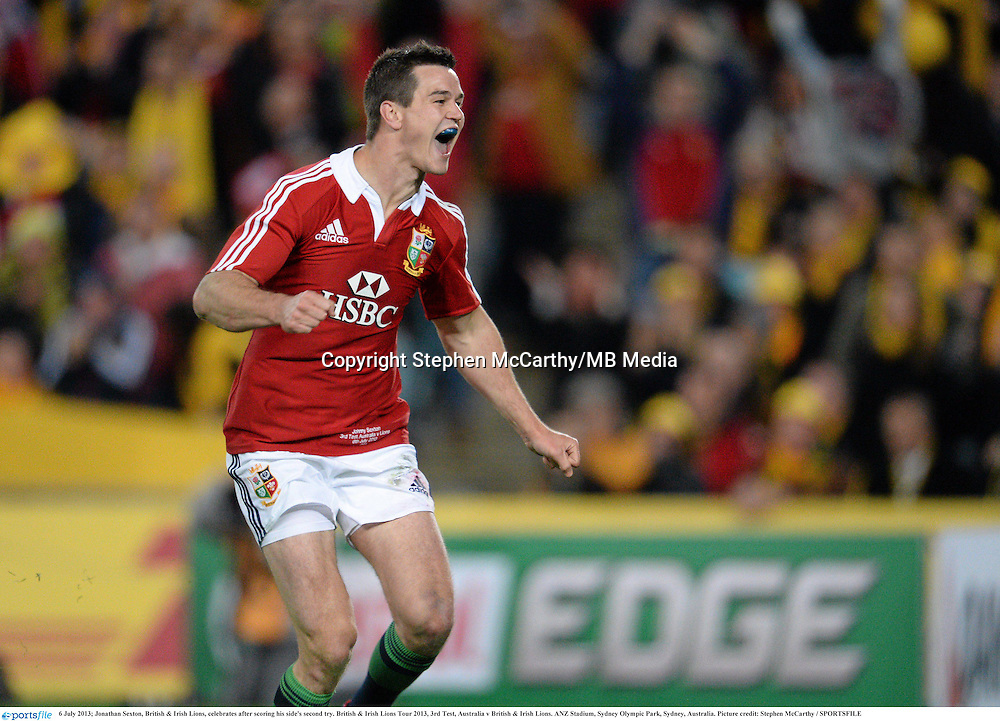 6 July 2013; Jonathan Sexton, British & Irish Lions, celebrates after scoring his side's second try. British & Irish Lions Tour 2013, 3rd Test, Australia v British & Irish Lions. ANZ Stadium, Sydney Olympic Park, Sydney, Australia. Picture credit: Stephen McCarthy / SPORTSFILE