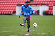 Bobbie Kamwa of Leeds United Under 23's warming up before the U23 Professional Development League match between Barnsley and Leeds United at Oakwell, Barnsley, England on 9 March 2020.