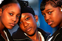 UK ENGLAND LONDON 15AUG06 - Three black girls pose for a photo illustrating ethnic diversity in Walthamstow, north London, where Police are investigating an alleged bomb plot...jre/Photo by Jiri Rezac..© Jiri Rezac 2006..Contact: +44 (0) 7050 110 417.Mobile:  +44 (0) 7801 337 683.Office:  +44 (0) 20 8968 9635..Email:   jiri@jirirezac.com.Web:    www.jirirezac.com..© All images Jiri Rezac 2006 - All rights reserved.