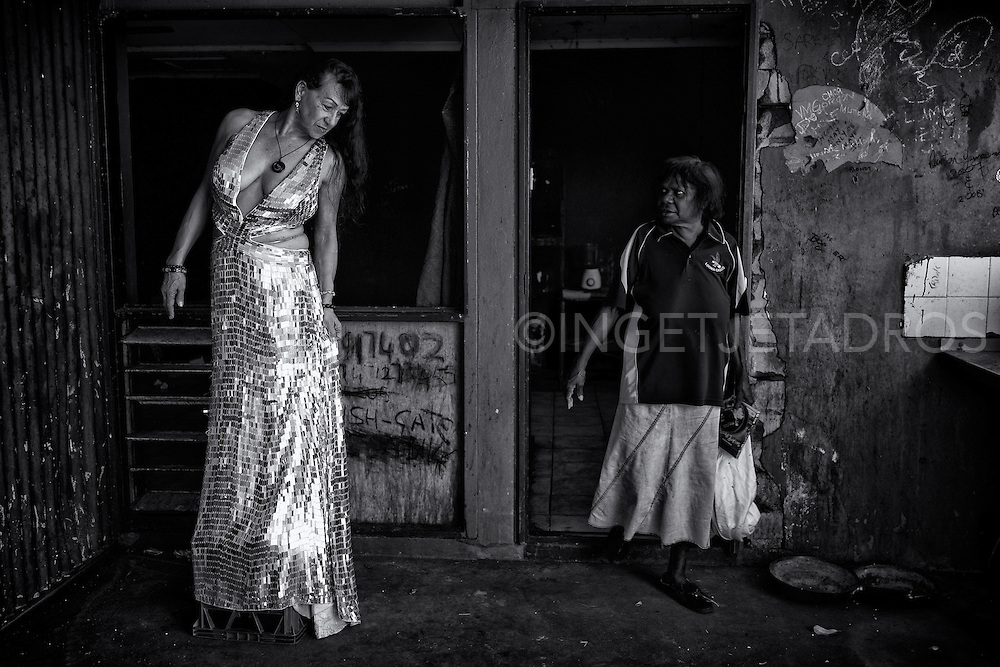 Gypsie is just checking out her silver dress which she bought from the OpShop while Betsy just walked out the house, very surprised to see Gypsie standing in that silver dress.<br />
