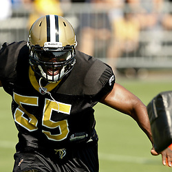 July 31, 2010; Metairie, LA, USA; New Orleans Saints linebacker Clint Ingram (55) during a training camp practice at the New Orleans Saints practice facility. Mandatory Credit: Derick E. Hingle