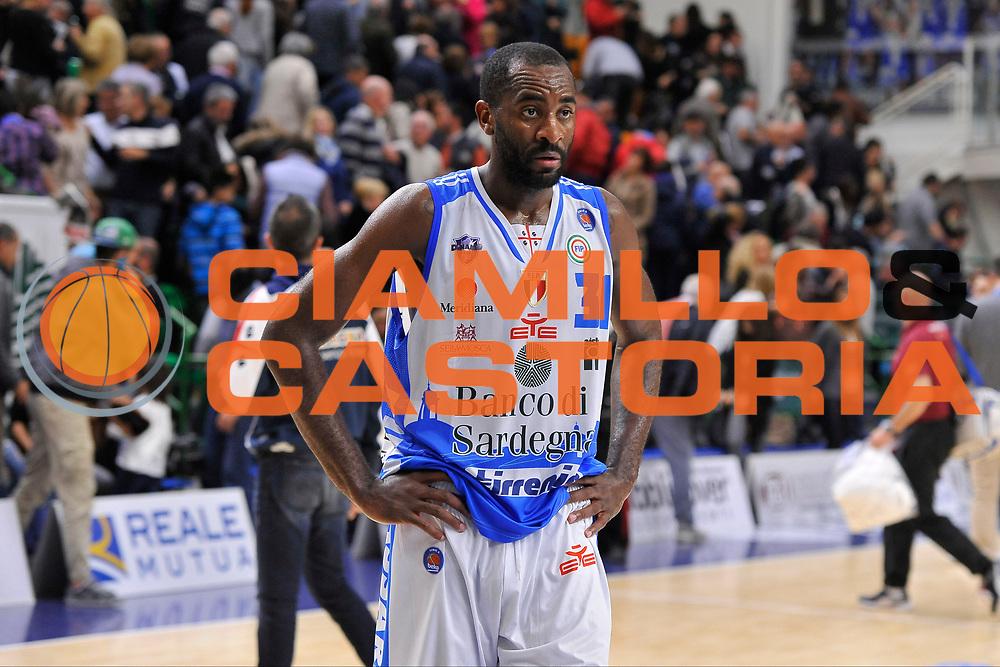 DESCRIZIONE : Campionato 2015/16 Serie A Beko Dinamo Banco di Sardegna Sassari - Umana Reyer Venezia<br /> GIOCATORE : Christian Eyenga<br /> CATEGORIA : Postgame Ritratto Delusione<br /> SQUADRA : Dinamo Banco di Sardegna Sassari<br /> EVENTO : LegaBasket Serie A Beko 2015/2016<br /> GARA : Dinamo Banco di Sardegna Sassari - Umana Reyer Venezia<br /> DATA : 01/11/2015<br /> SPORT : Pallacanestro <br /> AUTORE : Agenzia Ciamillo-Castoria/C.Atzori