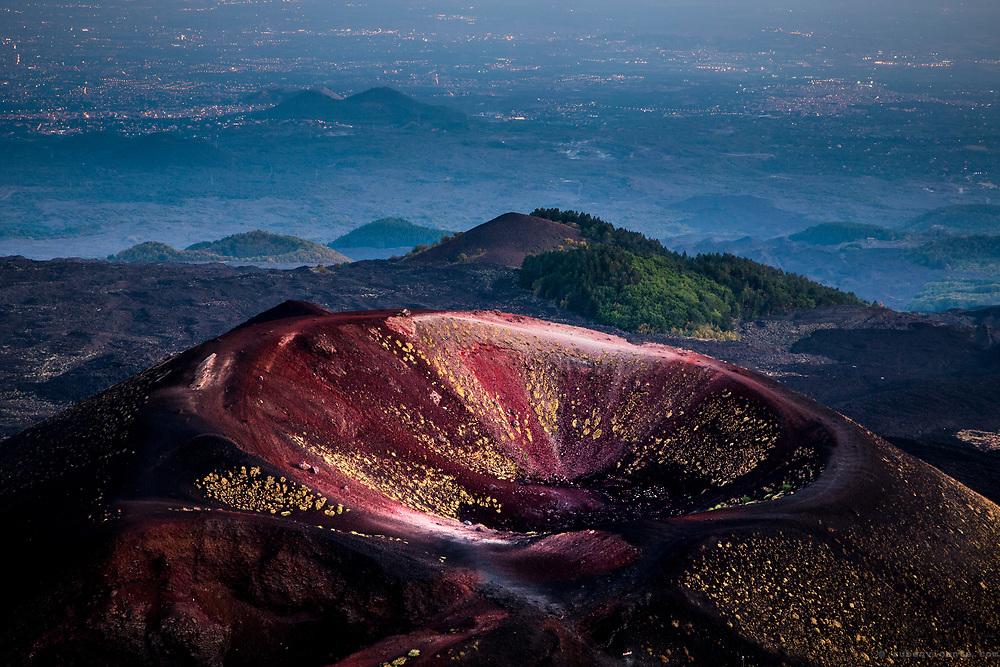 Etna colorful crater. Sicily, Italy