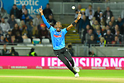 Jofra Archer of Sussex has an unsuccessfull appeal for a wicket during the final of the Vitality T20 Finals Day 2018 match between Worcestershire Rapids and Sussex Sharks at Edgbaston, Birmingham, United Kingdom on 15 September 2018.