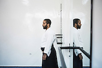 CASABLANCA, MOROCCO - 14 MAY 2016: (L-R) Ahmed Abdul Hakeem (28) teaches aikido to a class of students in the dojo his father Luqman founded after moving to Morocco in 1985, in Sidi Maarouf, a district of Casablanca, Morocco, on May 14th 2016.<br /> <br /> The Hakeem brothers are the sons of Luqman Abdul-Hakeem, a close follower of Malcolm X that chauffeured the African American activist around and introduced him to Cuban leader  Fidel Castro in September 1960.<br /> <br /> Born in Cleveland, OH, in 1934, Luqman Abdul-Hakeem was raised in Flushing, Queens, and then moved to Bayside, where he graduated in 1952. He attended the New York Technical University for a few months before enrolling in the Navy, where he stayed for two years. Though he had asked for ship duty, he ended up in Springfield, Mass., and Glennclose, Ill. He moved to Brooklyn when his hitch was done and by 1966 was studying jujitsu and aikido. He met Malcolm X during one of his sermons on 116th street in Harlem, New York, in the late 50's. In 1985, Mr. Hakeem decided to move to Marocco because America wasn't a country where he wanted to raise hois children. He has been teaching aikido in the two dojos he owns in Casablanca until 2014, when he underwent a surgery.