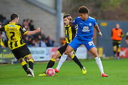Peterborough United forward Lee Angol uses his strength during the The FA Cup match between Burton Albion and Peterborough United at the Pirelli Stadium, Burton upon Trent, England on 7 November 2015. Photo by Aaron Lupton.