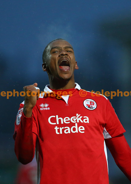 Crawley's Lewis Young celebrates scoring the winning goal during the Sky Bet League 2 match between Chesterfield and Crawley Town at the Proact Stadium in Chesterfield. 03 Feb 2018