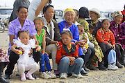 GOBI DESERT, MONGOLIA..08/26/2001.Bayangovi. Visitors of local Naadam festival..(Photo by Heimo Aga).
