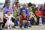 GOBI DESERT, MONGOLIA..08/26/2001.Bayangovi. Visitors of local Naadam festival..(Photo by Heimo Aga).