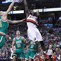 09 March 2012:  Portland Trailblazers forward Gerald Wallace (3) goes for the layup during the Boston Celtics 104-86 victory over the Portland Trail Blazers at the TD Banknorth Garden, Boston, Massachusetts, USA.