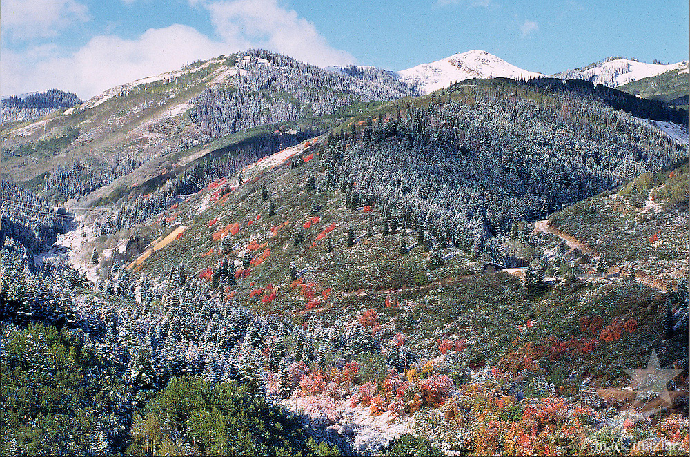 overlooking Daly Canyon and Empire Canyon after first snowfall in fall, Park City, Utah, UT
