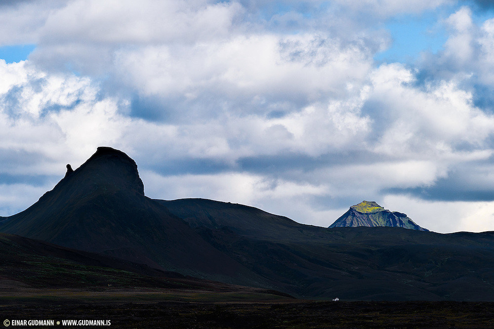 The mountain Einhyrningur in the foreground and Hattafell in the background.