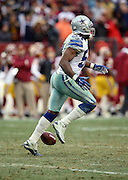 Dallas Cowboys outside linebacker Bruce Carter (54) celebrates after intercepting a fourth quarter pass during the NFL week 17 regular season football game against the Washington Redskins on Sunday, Dec. 28, 2014 in Landover, Md. The Cowboys won the game 44-17. ©Paul Anthony Spinelli
