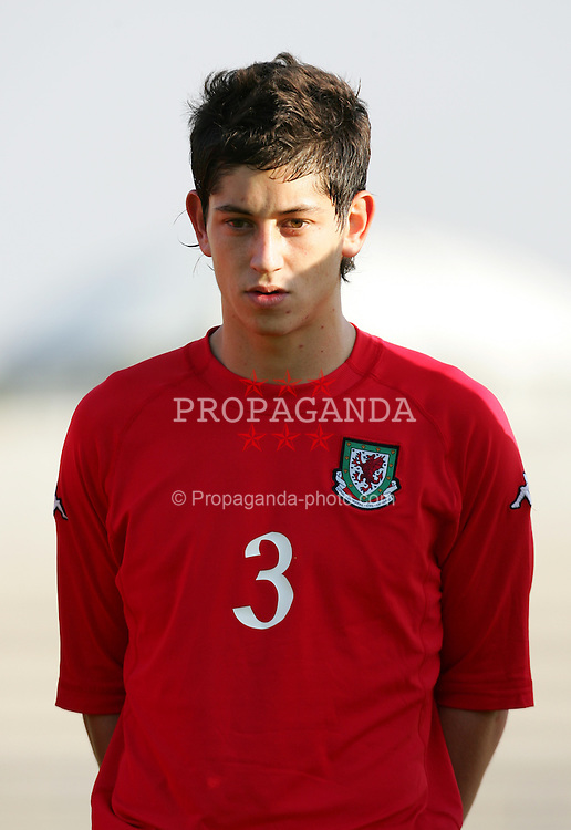 PAPHOS, CYPRUS - TUESDAY, NOVEMBER 15th, 2005: Wales' Joe Jacobsen lines-up to face Cyprus during the Under-21 International Friendly match at the Paphiako Stadium. (Pic by David Rawcliffe/Propaganda)