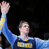 15 April 2014: Denver Nuggets center Timofey Mozgov (25) is seen during the players introduction prior to the Los Angeles Clippers 117-105 victory over the Denver Nuggets at the Staples Center, Los Angeles, California, USA.