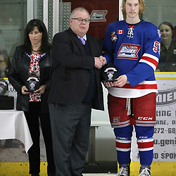 COCHRANE, ON - MAY 4: 2019 Dudley Hewitt Cup post game award presentations on May 4, 2019 at Tim Horton Events Centre in Cochrane, Ontario, Canada.<br /> (Photo by Tim Bates / OJHL Images)