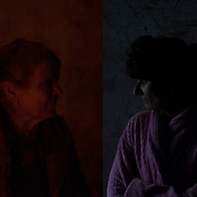 Left: Portrait of an elderly woman living for several months in the basement of a bombed hospital in Donetsk's Kievsky district.<br />