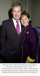 LORD & LADY IVAR MOUNTBATTEN at a party in London on 31st October 2001.<br />OTU 11