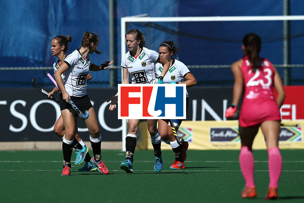 JOHANNESBURG, SOUTH AFRICA - JULY 16:  Franziska Hauke of Germany celebrates her goal with team mates during day 5 of the FIH Hockey World League Women's Semi Finals Pool A match between Japan and Germany at Wits University on July 16, 2017 in Johannesburg, South Africa.  (Photo by Jan Kruger/Getty Images for FIH)
