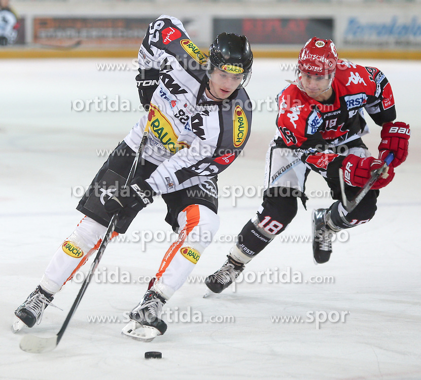 27.09.2015, Tiroler Wasserkraft Arena, Innsbruck, AUT, EBEL, HC TWK Innsbruck Die Haie vs Dornbirner Eishockey Club, 6. Runde, im Bild vl.: Stefan Häußle (Dornbirner Eishockey Club), Max Steinacher (HC TWK Innsbruck Die Haie) // during the Erste Bank Icehockey League 6th round match between HC TWK Innsbruck Die Haie and Dornbirner Eishockey Club at the Tiroler Wasserkraft Arena in Innsbruck, Austria on 2015/09/27. EXPA Pictures © 2015, PhotoCredit: EXPA/ Jakob Gruber