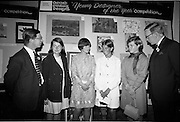 "28/06/1967<br /> 06/28/1967<br /> 28 June 1967<br /> Presentation of prizes at Navan Carpets ""Young Designer of the Year"" reception in the Royal Hibernian Hotel, Dublin. Image shows (l-r): Mr. Wilson, Navan Carpets Ltd.; Miss Bernadette Madden, Donnybrook, Dublin; Miss Eileen Duggan, Baldoyle, Co. Dublin; Miss Susan Dubsky, Dun Laoghaire; Miss Angela Mcinnerney, Foxrock, Dublin and Mr. J. Short, Navan Carpets Ltd. at the reception."