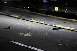 © Licensed to London News Pictures. 27/01/2013. Bristol, UK. Markings on the road at the scene where two cyclists, a man and a woman, died after they were involved in a hit and run accident with a vehicle in Lower Hanham Road, Hanham, Bristol.  27 January 2013..Photo credit : Simon Chapman/LNP
