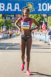 Boston Athletic Association 10K road race: Betsey Saina after finishing 2nd