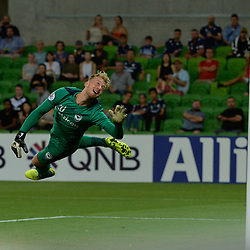 Lawrence Thomas (GK) of Melbourne Victory FC fails to stop a ball from Mislav Orsic of Ulsan Hyundai in the early part of the 2nd half (3:2)  -  AFC Champions League, 13 February 2018, Group F, Melbourne Victory FC v Ulsan Hyundai at Melbourne Rectangular Stadium (Aami Park), Australia |© Mark Avellino | SportPix.org.uk