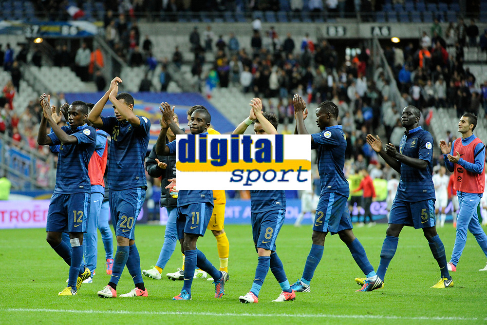 FOOTBALL - FIFA WORLD CUP 2014 - QUALIFYING - FRANCE v BIELORUSSIA - SAINT DENIS (FRANCE) - 11/09/2012 - PHOTO JEAN MARIE HERVIO / REGAMEDIA / DPPI - JOY FRANCE AT THE END OF THE MATCH
